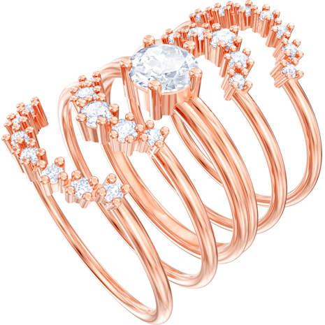 Penélope Cruz Moonsun Stacking Ring, White, Rose-gold tone plated - Swarovski, 5486359