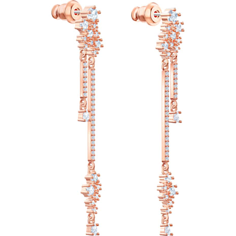 Penélope Cruz Moonsun Drop Pierced Earrings, Long, White, Rose-gold tone plated - Swarovski, 5486635