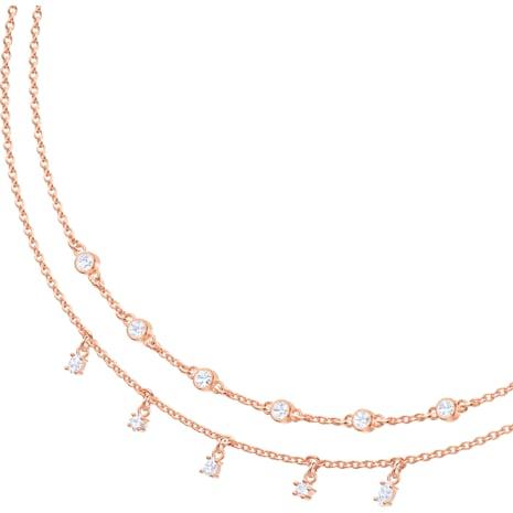 Penélope Cruz Moonsun Double Necklace, White, Rose-gold tone plated - Swarovski, 5486647