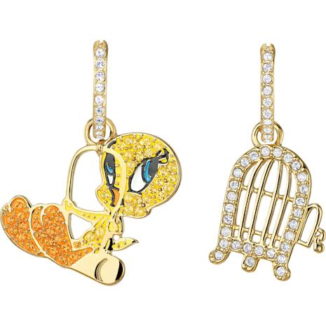 Looney Tunes Tweety Hoop Pierced Earrings, Multi-colored, Gold-tone plated - Swarovski, 5487637