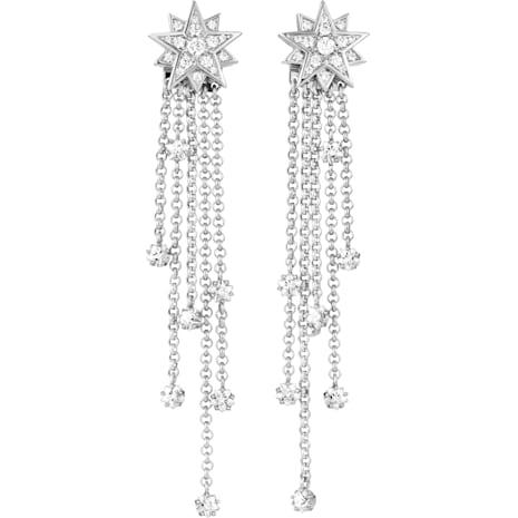Penélope Cruz Moonsun Strand Pierced Earrings, Limited Edition, White, Rhodium plated - Swarovski, 5489763