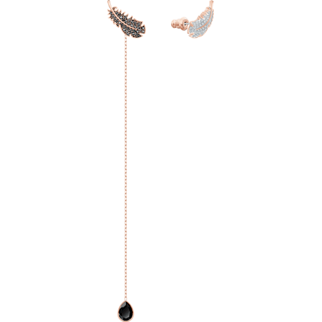 Naughty İğneli Küpeler, Siyah, Pembe altın rengi kaplama - Swarovski, 5495373