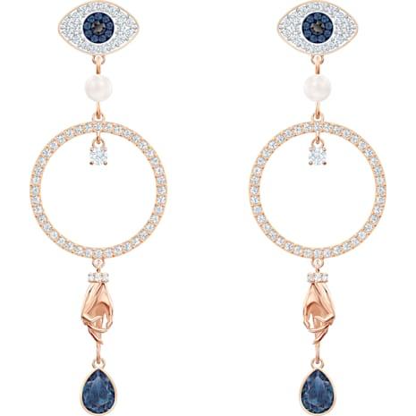 Swarovski Symbolic Hoop Pierced Earrings, Multi-colored, Rose-gold tone plated - Swarovski, 5500642