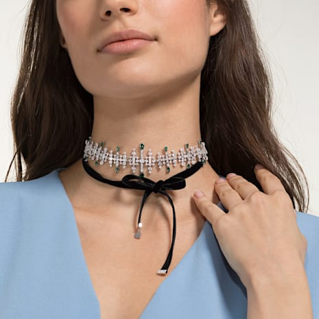 Perfection Choker, Multi-colored, Rhodium plated - Swarovski, 5507696