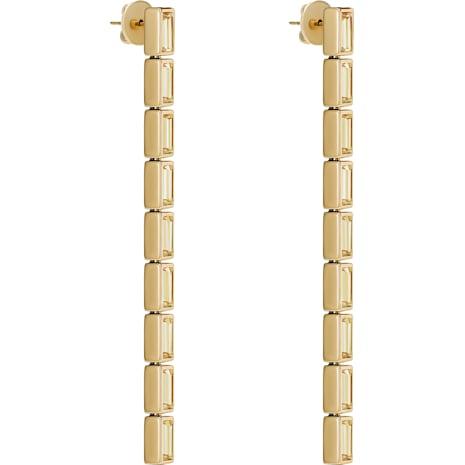 Fluid Detachable Earrings, Brown, Gold-tone plated - Swarovski, 5511935