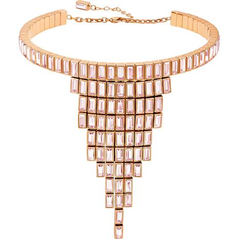 Fluid Statement Necklace, Violet, Rose-gold tone plated - Swarovski, 5512004