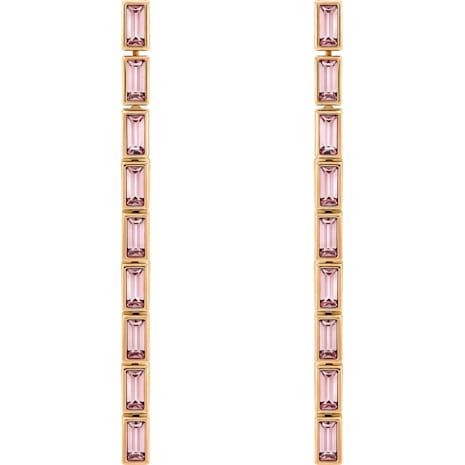 Fluid Detachable Earrings, Violet, Rose-gold tone plated - Swarovski, 5512007