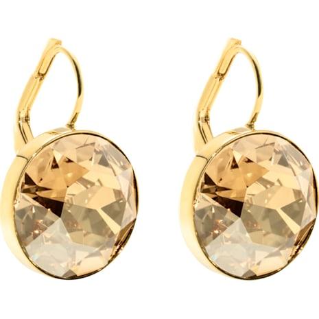 Bella 穿孔耳環, 咖啡色, 鍍金色色調 - Swarovski, 901640