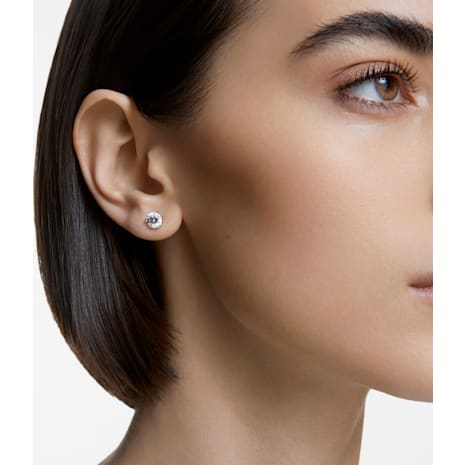 Solitaire Pierced Earrings, White, Rhodium plated