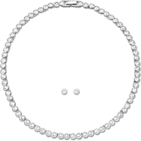 Tennis Set, White, Rhodium plated - Swarovski, 5007747