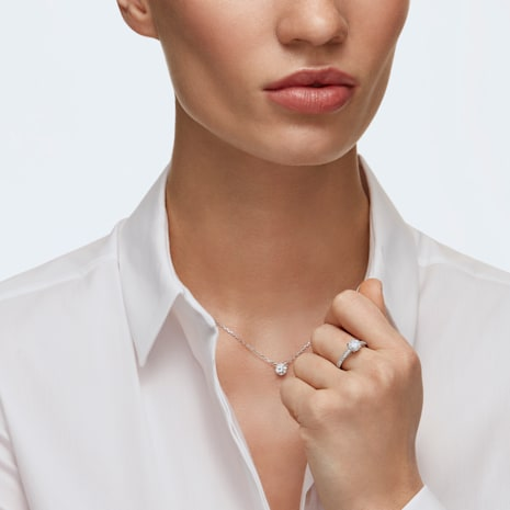 Attract Round Ring, White, Rhodium plated - Swarovski, 5032919