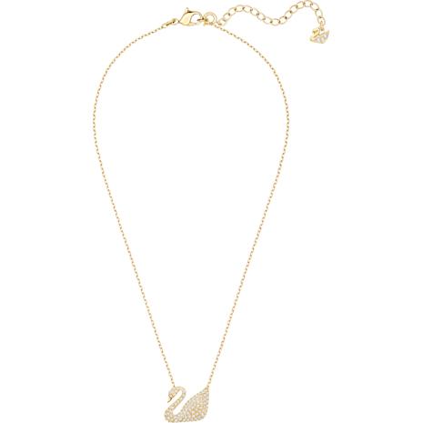 Swan Necklace, White, Gold-tone plated - Swarovski, 5063921