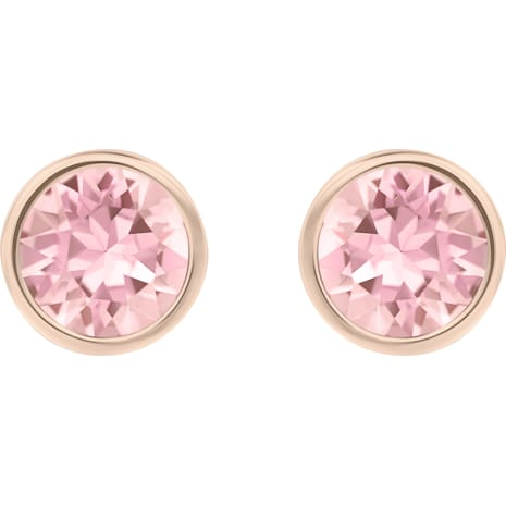 Solitaire Pierced Earrings Pink Rhodium Plated