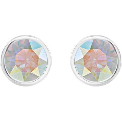 Solitaire Pierced Earrings Multi Colored Rhodium Plated