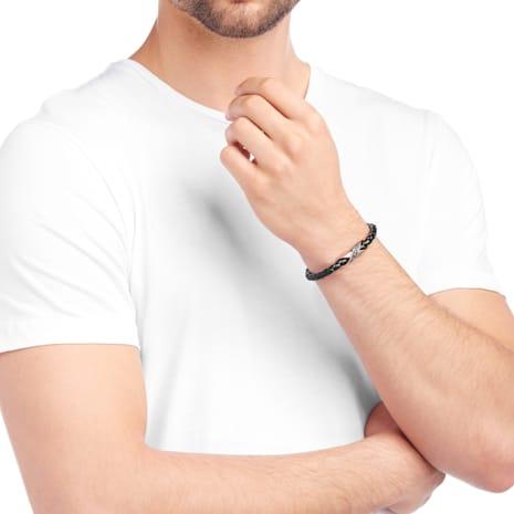 Cross Signature Bracelet, Leather, Black, Rose-gold tone plated - Swarovski, 5115156