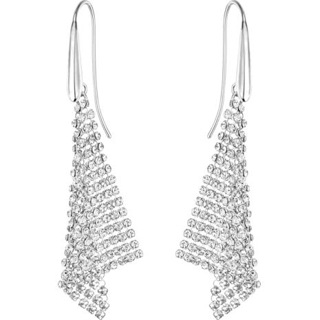 Fit Pierced Earrings, White, Rhodium plated - Swarovski, 5143068