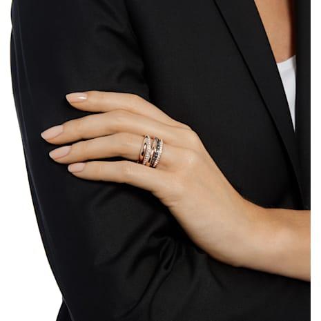 Anello Dynamic, grigio, Placcato oro rosa - Swarovski, 5143411