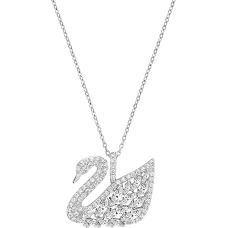Swan Lake Pendant, White, Rhodium plating - Swarovski, 5169080