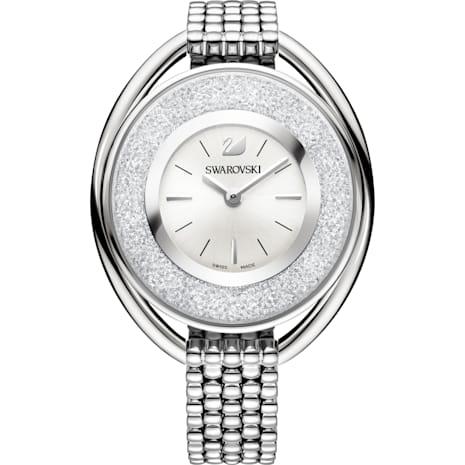 Crystalline Oval Saat, Metal bileklik, Beyaz, Paslanmaz çelik - Swarovski, 5181008