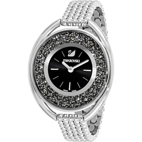 Crystalline Oval Saat, Metal bileklik, Siyah, Gümüş Rengi - Swarovski, 5181664