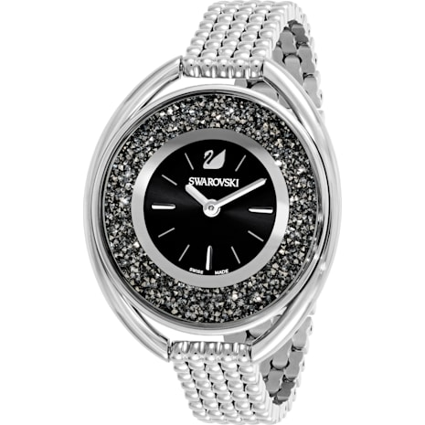 Crystalline Oval Watch, Metal bracelet, Black, Silver Tone - Swarovski, 5181664