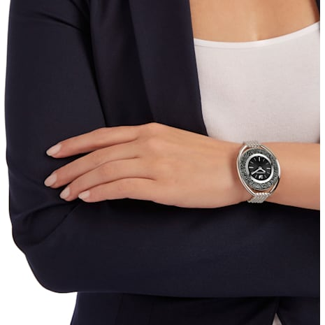 Crystalline Oval Uhr, Metallarmband, schwarz, silberfarben - Swarovski, 5181664