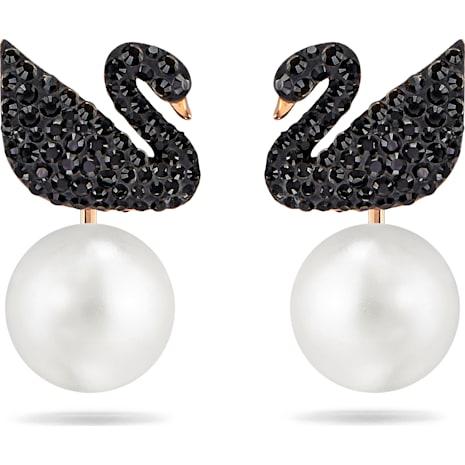 Swarovski Iconic Swan İğneli Küpe Gömlekleri, Siyah, Pembe altın rengi kaplama - Swarovski, 5193949