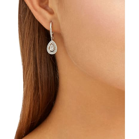 Attract Pearl İğneli Küpeler, Beyaz, Rodyum kaplama - Swarovski, 5197458