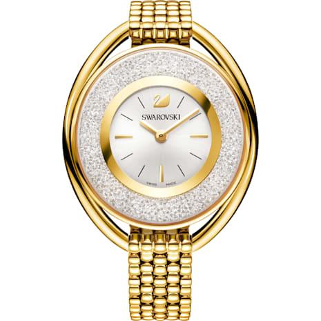 Orologio Crystalline Oval, Bracciale di metallo, bianco, PVD oro - Swarovski, 5200339