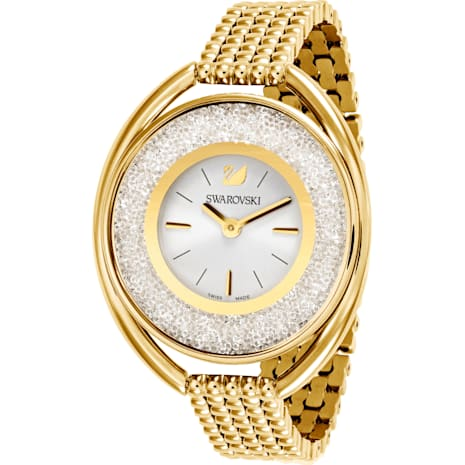 Crystalline Oval Uhr, Metallarmband, weiss, Vergoldetes PVD-Finish - Swarovski, 5200339
