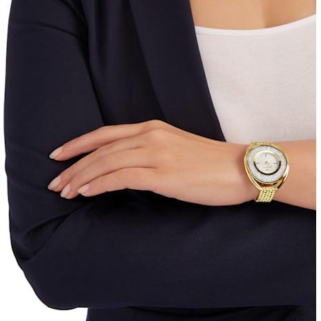 Montre Crystalline Oval, Bracelet en métal, blanc, PVD doré - Swarovski, 5200339