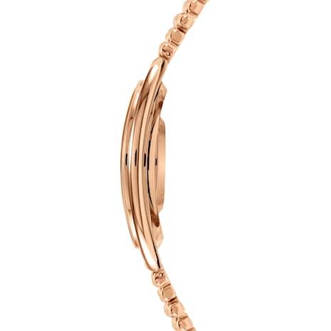 Montre Crystalline Oval, Bracelet en métal, blanc, PVD doré rose - Swarovski, 5200341