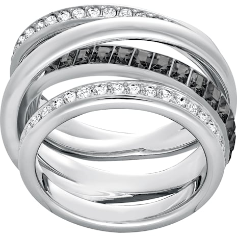 Dynamic Ring, Gray, Rhodium plated - Swarovski, 5202250