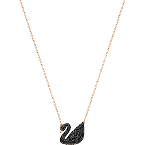 Pendente Swarovski Iconic Swan, nero, Placcato oro rosa - Swarovski, 5204134