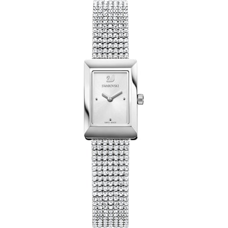 Memories Watch, Crystal Mesh strap, White, Stainless steel - Swarovski, 5209187