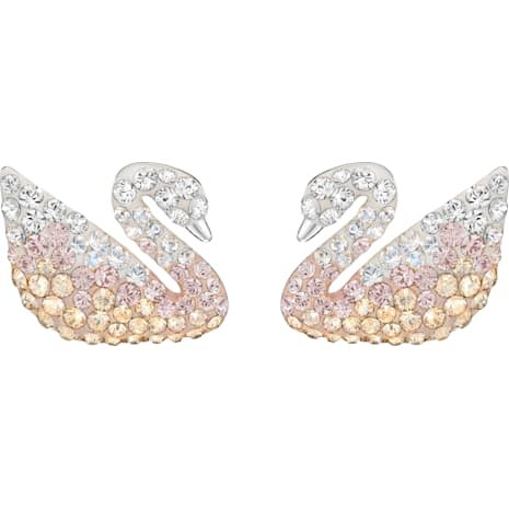 Swarovski Iconic Swan Pierced Earrings, Multi-coloured, Rhodium plated - Swarovski, 5215037
