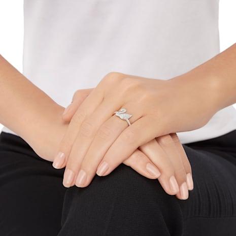 Swarovski Iconic Swan Ring, White, Rhodium plated - Swarovski, 5215040