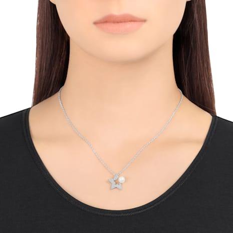 Fanfare Pendant, White, Rhodium plating - Swarovski, 5215275