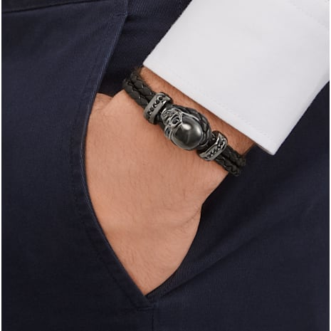 Fran Bracelet, Leather, Black, Gun Metal plated - Swarovski, 5217218