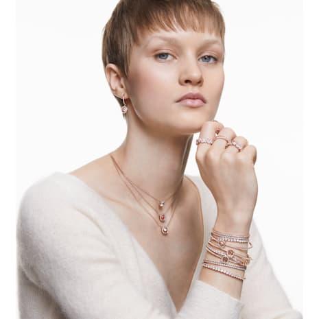Subtle Bracelet, White, Rose-gold tone plated - Swarovski, 5224182