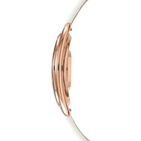 Crystalline Oval Saat, Deri kayış, Beyaz, Pembe altın rengi PVD - Swarovski, 5230946