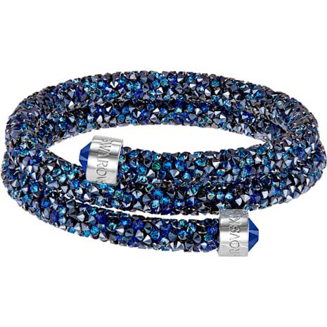 Crystaldust Double Bangle, Blue, Stainless steel