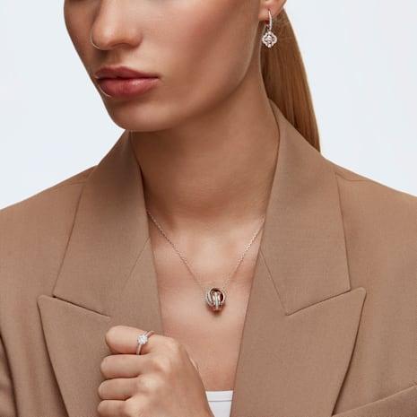 Pendentif Further, blanc, Métal doré rose - Swarovski, 5240525