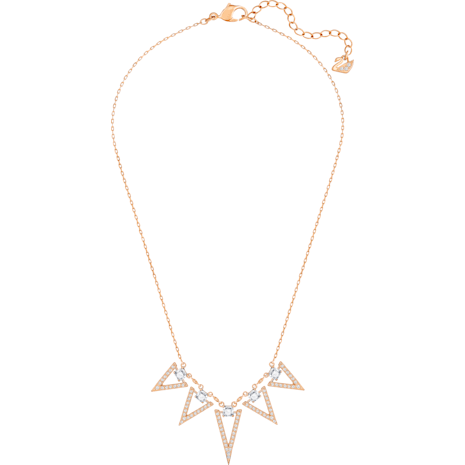 Funk Necklace, Large, White, Rose-gold tone plated - Swarovski, 5241273