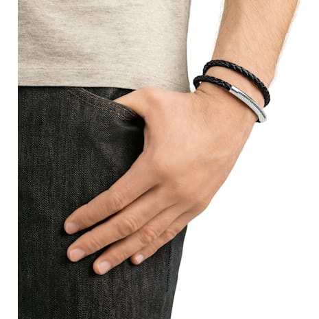 Gesture Armband, Leder, grau, Edelstahl - Swarovski, 5252387