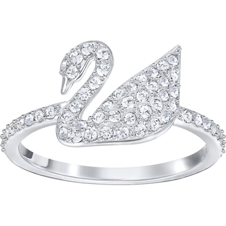 Anello Swarovski Iconic Swan, bianco, Placcatura rodio - Swarovski, 5258398