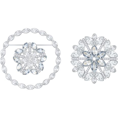 Ginette Brooch Set, White, Rhodium plated - Swarovski, 5262279