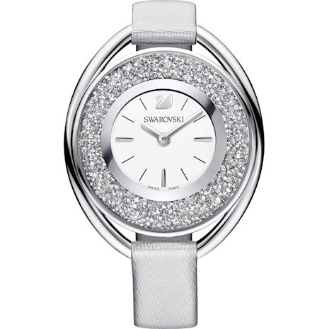 Montre Crystalline Oval, Bracelet en tissu, gris, ton argenté - Swarovski, 5263907