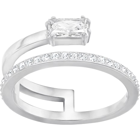 Gray Ring, Small, White, Rhodium Plating - Swarovski, 5265697