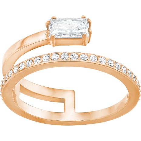 Gray Ring, Small, White, Rose-gold tone plated - Swarovski, 5265698